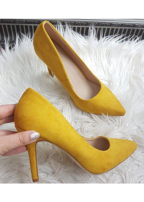 Horčicovo žlté semišové lodičky Eva