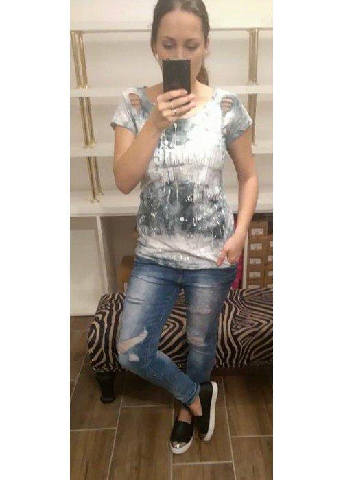 Batikové tričko July šedé