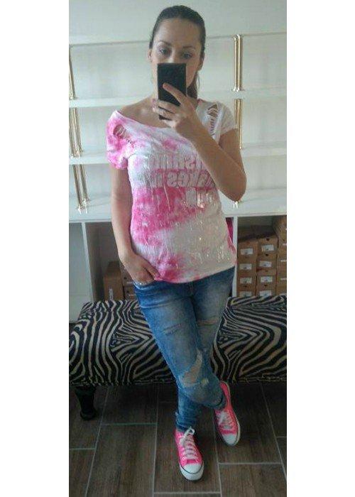 Batikové tričko July ružové