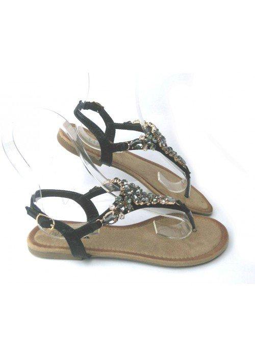 Čierne sandálky s kamienkami Lima