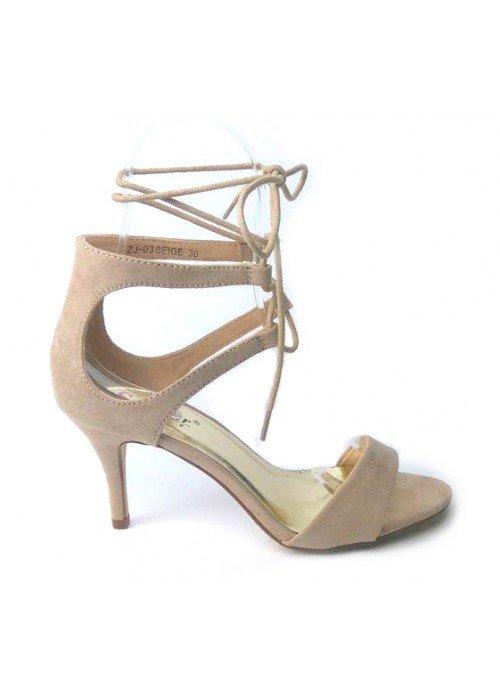 Semišové sandále na viazanie Hannah béžové