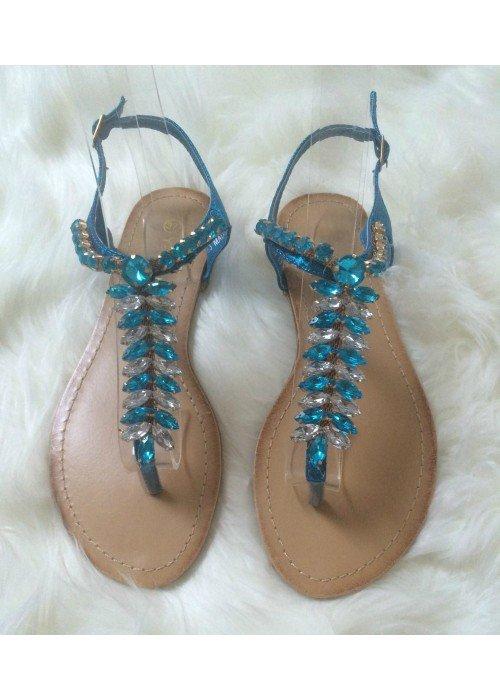 Sandálky s kamienkami Lina modré