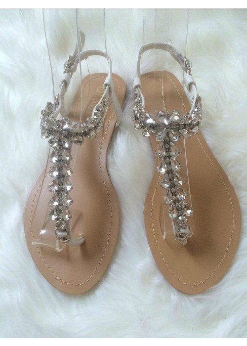 Sandálky s kamienkami Cory biele
