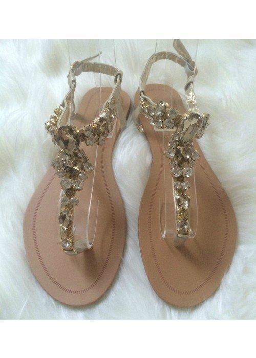 Sandálky s kamienkami Dory zlaté