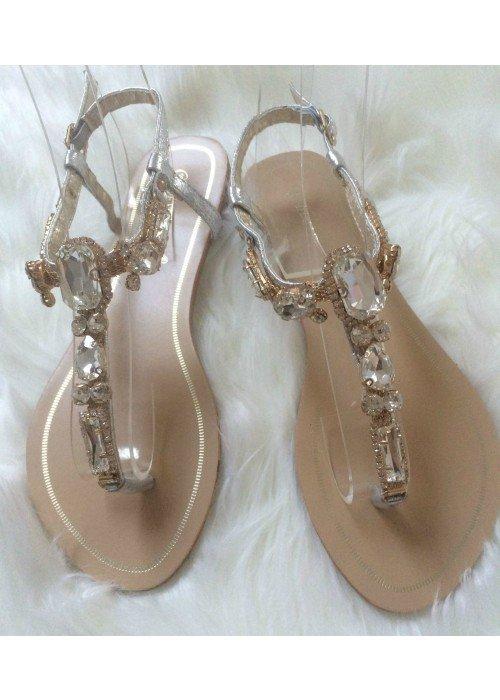 Sandálky s kamienkami Stone 2 strieborné