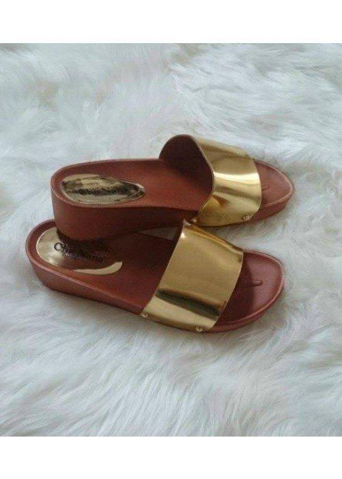 Zlaté platformové šľapky Nana