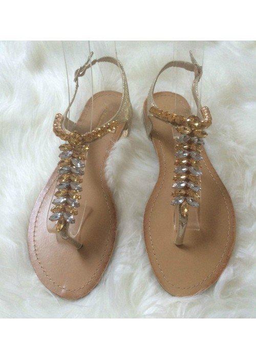 Sandálky s kamienkami Lina zlaté