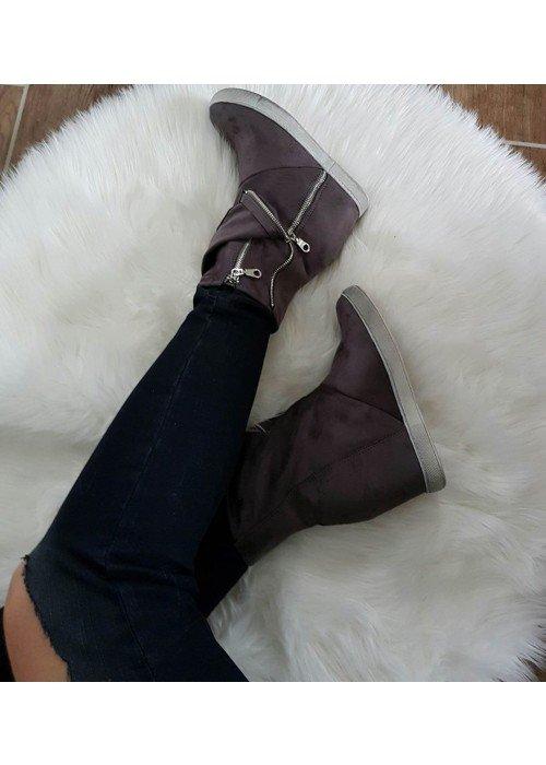 Platformové čižmičky Noemi sivé