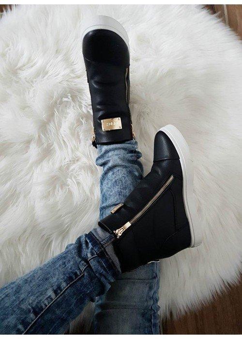 Zateplené topánky na platforme Lady čierne