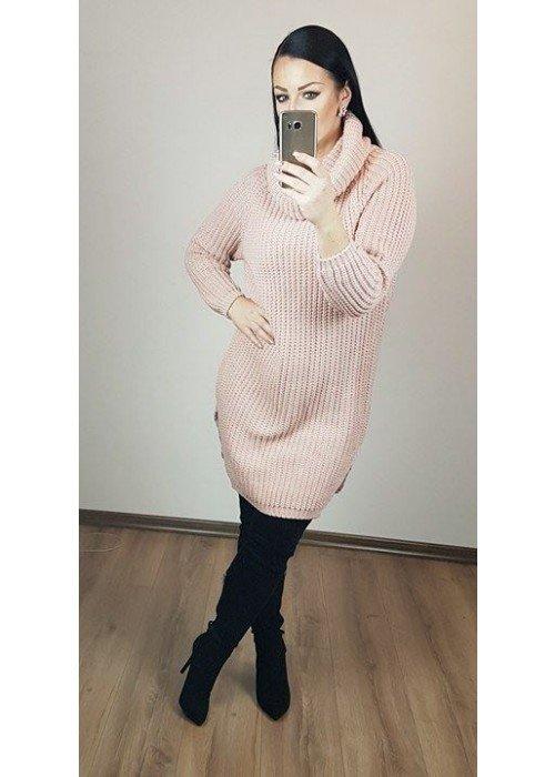 Rolákový oversize sveter púdrový