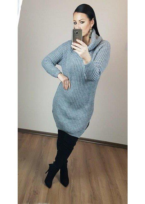 Rolákový oversize sveter sivý