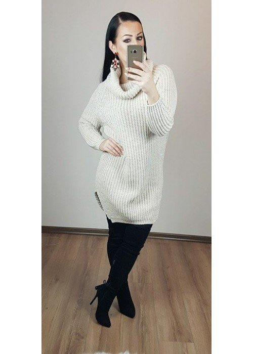 Rolákový oversize sveter béžový