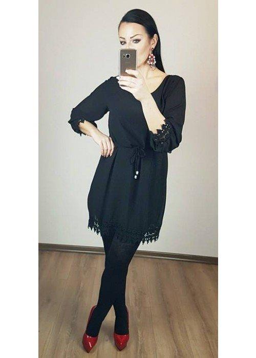 Šaty s krajkou Madam čierne