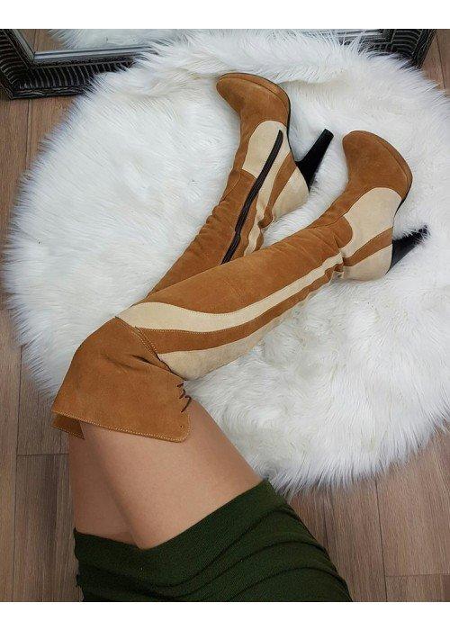 Kožené karamelové čižmy nad koleno