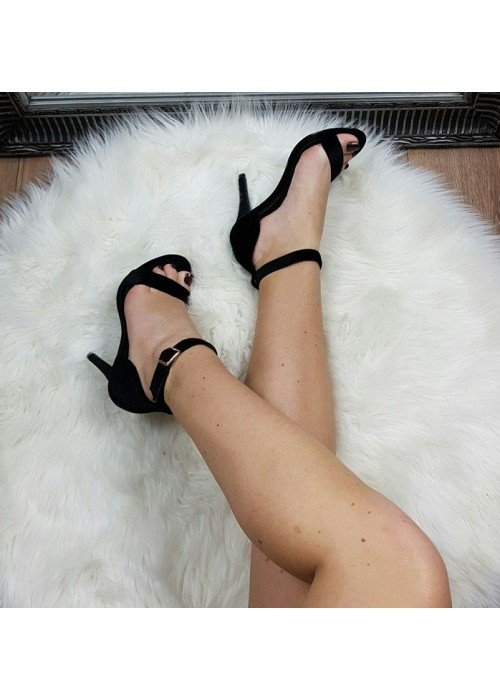 Zamatové sandále Tiffani čierne
