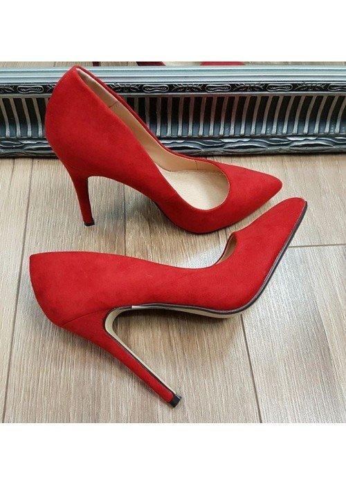 Červené semišové lodičky Laurita