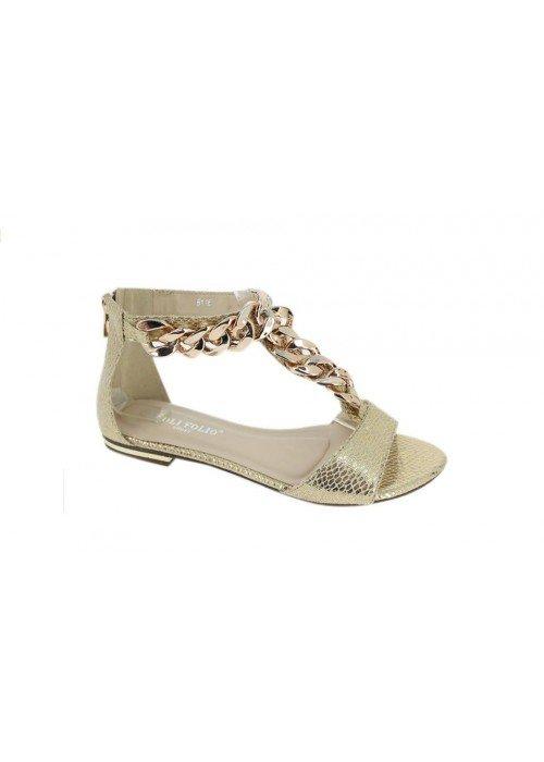 22d730ef7dccf Nízke sandále s reťazou Chain zlaté - Divalli.sk