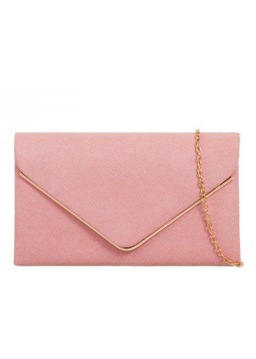 Semišová listová kabelka Sofia svetloružová