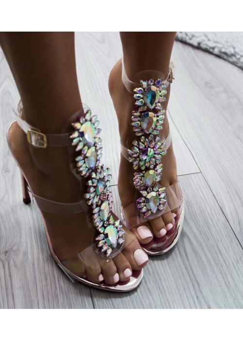 Luxusné sandálky s kamienkami Surri rosegold