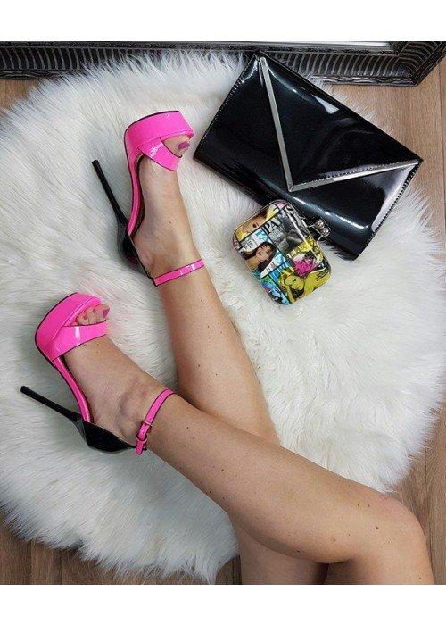 Neónovo ružové sandále Gina