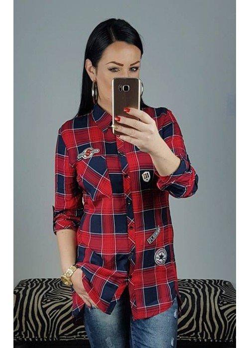Károvaná košeľa s nášivkami Missy červená