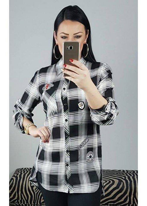 Károvaná košeľa s nášivkami Missy bielo čierna
