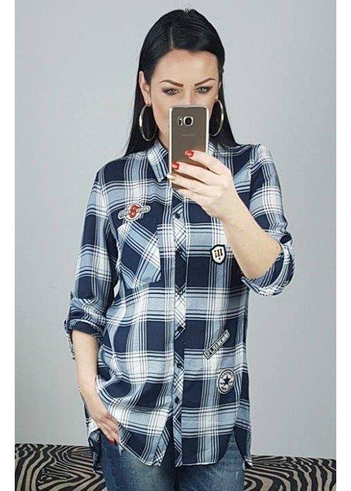 Károvaná košeľa s nášivkami Missy modrá