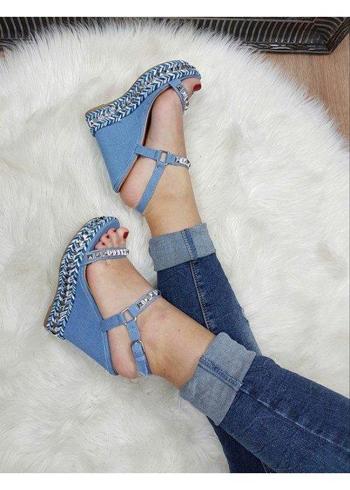 Platformové rifľové sandále Tatiana