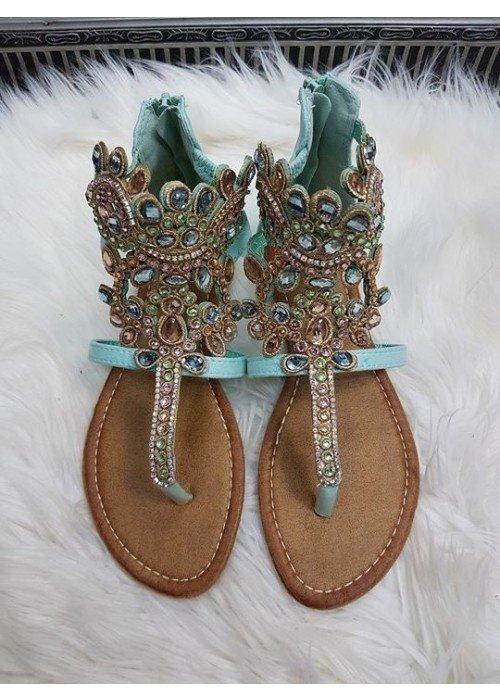 Sandálky s kamienkami Ella mätové