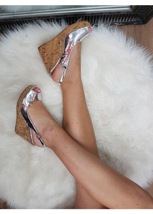 Platformové sandále Katy strieborné