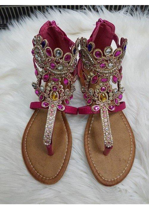 Sandálky s kamienkami Ella cyklaménové