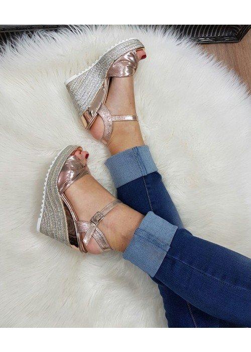Platformové sandále Aurora rose gold