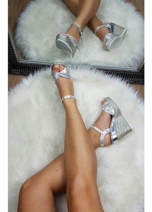 Platformové sandále Aurora strieborné