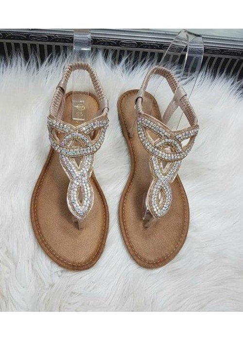 Štrasové sandálky Erynn rose gold