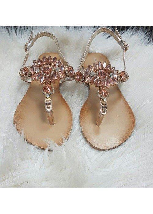 Ružové sandálky s kamienkami Bloom