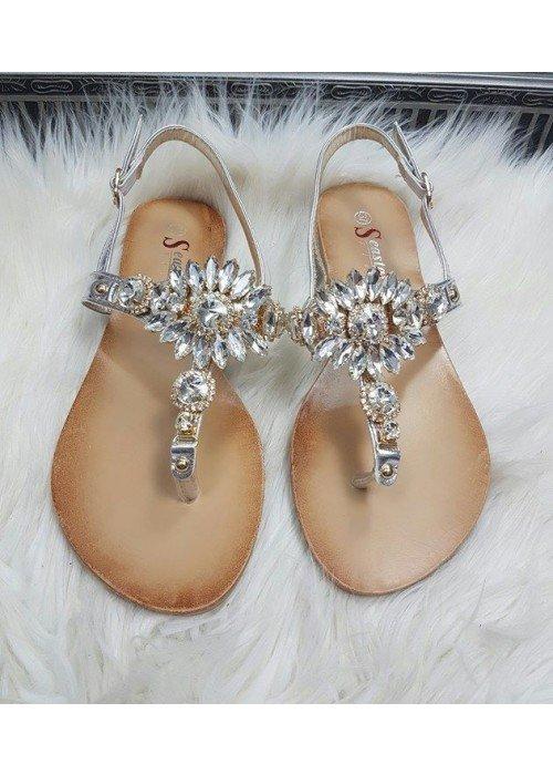 Strieborné sandálky s kamienkami Bloom