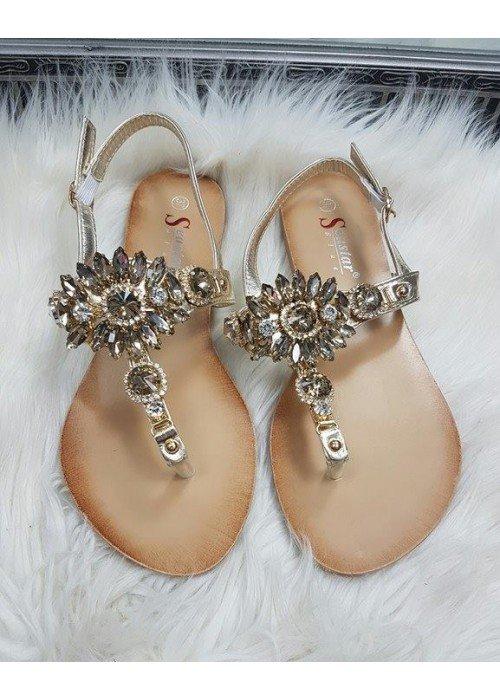Zlaté sandálky s kamienkami Bloom