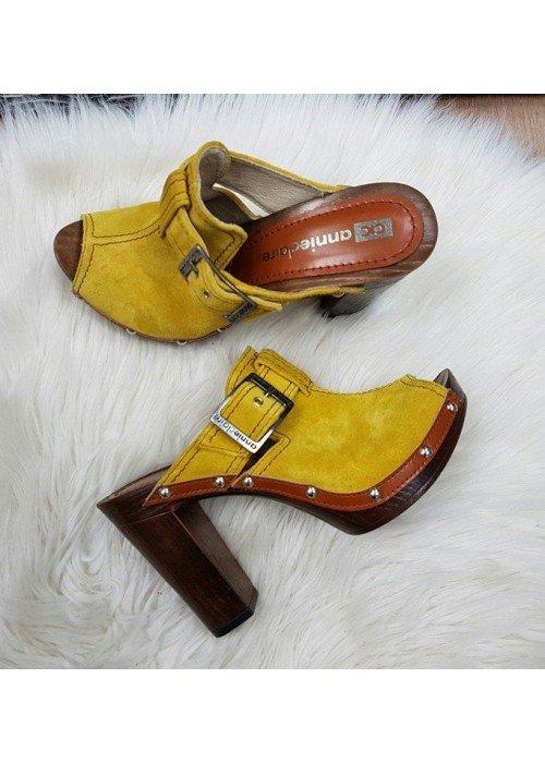 Kožené dreváky Riva horčicovo žlté