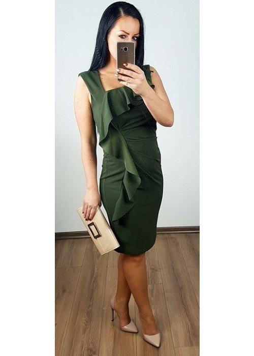 Olivové šaty s volánom
