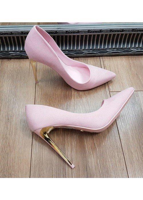 Ružové semišové lodičky so zlatým opätkom