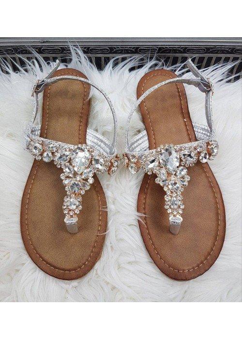Sandálky s kamienkami Moana strieborné