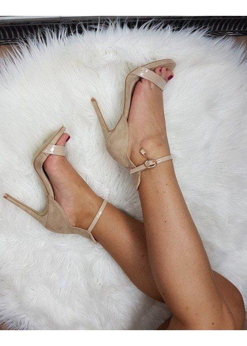 Sandále so zlatým zámkom Misha béžové