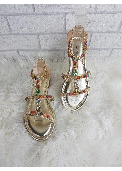 Luxusné sandálky s farebnými kamienkami Zoe zlaté