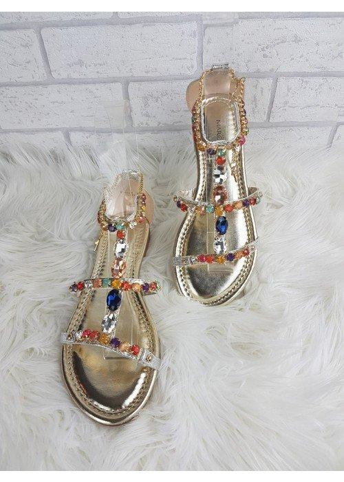 Luxusné sandálky s farebnými kamienkami Zoe strieborné
