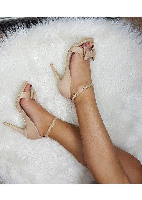 Sandále s mašličkou Ria béžové