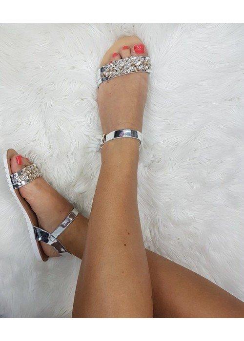 Sandálky s kamienkami Emily strieborné