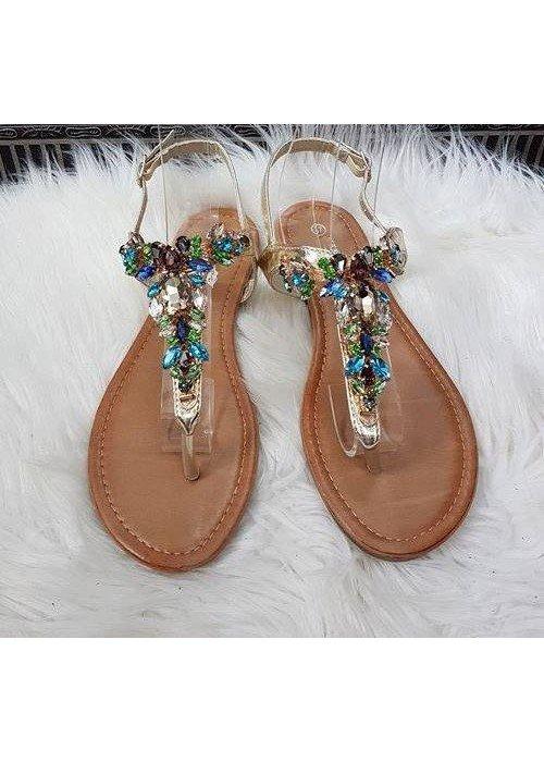 Zlaté sandálky s farebnými kamienkami Luna