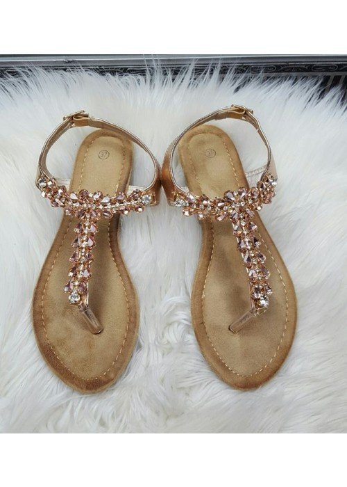 Sandálky s kamienkami Tami rose gold