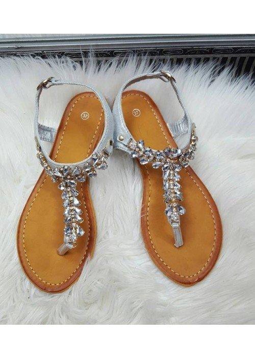 Sandálky s kamienkami Tami strieborné