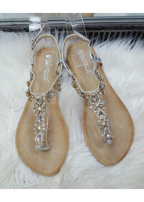 Sandálky s kamienkami Daisy strieborné